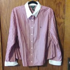 Dress shirt Vertical striped button up shirt. 100% cotton. Color shows best in last two pics. Shorter in back, form fitted. Punk, red and navy blue. Like new. Ralph Lauren Tops Button Down Shirts