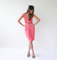 Cocktail Coral  Bridesmaid Dress. $89.00, via Etsy.