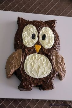 """I saw this owl cake on pinterest. It was pinned from the """"Leave Room for Dessert..."""" blog . It is so cute I had to share. All you do is b..."""