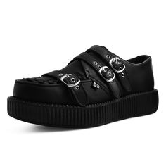 Buy the black leather triple buckle strap low platform creepers Style from the official T. Get fast shipping and the best selection! Women's Creepers, Platform Creepers, Creeper Style, New Shoes, Hiking Boots, Shoe Boots, Black Leather, Footwear, Birthday Wishlist