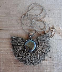 Fan Necklace Sterling Silver Handwoven Wire by StaroftheEast