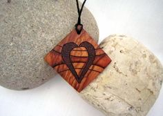 Wood pendant heart pyrography  Olive wood heart by SepiaTree