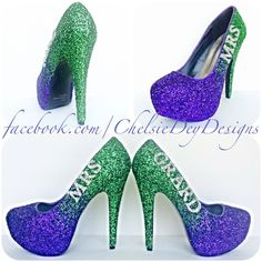 Glitter High Heels Wedding Platform Pumps Purple and Green Ombre With... ($110) ❤ liked on Polyvore featuring shoes, pumps, black, women's shoes, black bow pumps, green platform pumps, black high heel shoes, glitter pumps and black platform pumps