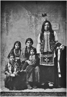 L-R: Helen Edmo, Bessie Edmo, Lizzie Randall-Edmo holding Eugene Edmo, Jack Edmo - Shoshone - circa 1898