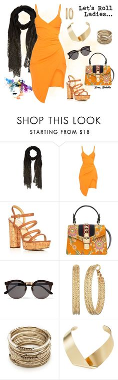 """""""Let's Roll Ladies..."""" by debbie-michailides ❤ liked on Polyvore featuring Valentino, MICHAEL Michael Kors, Gucci, Illesteva, GUESS, Sole Society and Kenneth Jay Lane"""