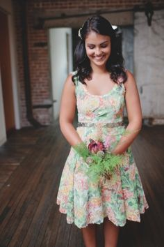 love this floral bridesmaids' dress from BHLDN // photo by RyanPricePhoto.com