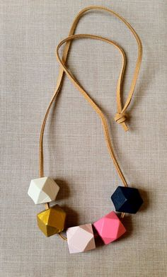 This Loves That | Geometric  Faceted Wood Bead Necklace    renegadecraft.com/chicago-holiday-artists