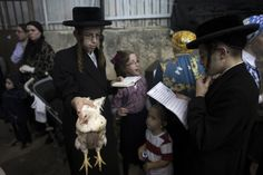 An ultra-Orthodox Jewish boy holds a chicken as he performs the Kaparot ritual in Jerusalem early morning on 2 October, ahead of Yom Kippur 2014, the Jewish Day of Atonement, which starts at sundown on Friday.