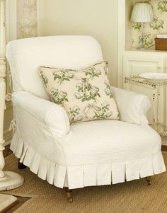 love this upholstered/slip covered chair