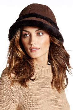 UGG Australia City Bucket Genuine Dyed Shearling Fur Trim Hat #hat #womens   Supernatural Style