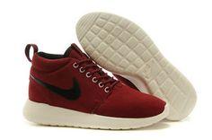 chaussures nike roshe run anti fur mid femme (vin rouge blanc noir