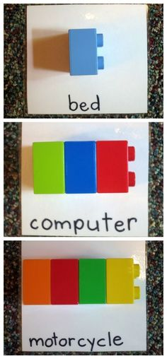 """Lego Syllable Counting Activity from """"This Reading Mama"""" (In order for it to serve my phonemic awareness needs, I'd include a picture along with the printed word.)"""