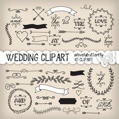 Wedding laurel clipart wedding invitation by alovelybutterfly, $4.99