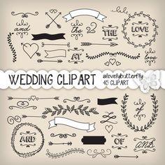 Boda laurel Imágenes Prediseñadas, invitación de boda digital, cosecha clipart nupcial, uso comercial pequeño, descarga instantánea