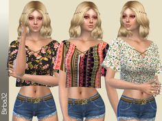 Hippie Floral Top by Birba32 at TSR via Sims 4 Updates