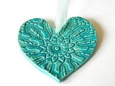 Ceramic Heart Ornament CIJ Caribbean Blue Pottery by Ceraminic, $10.00