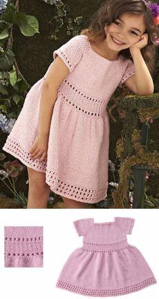 Вязаное платье для девочки спицами «Карамелька»