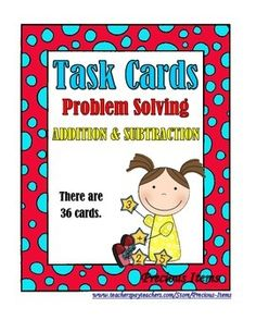 Students will complete the task cards on addition and subtraction problem solving. The task cards can be used as a review of addition and subtraction skills. Students will read each word problem on each task card and solve the problem. Place in your math stations so students can work on them independently.