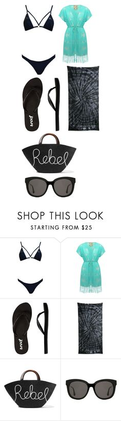 """""""OC #1 Beach Wear"""" by bloodyrose130 ❤ liked on Polyvore featuring M&Co, Reef, Colortone, Eugenia Kim and Gentle Monster"""