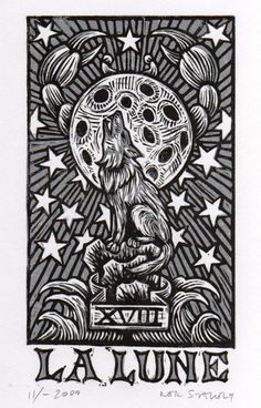 La Lune The Moon Tarot Linoleum Block Print by HorseAndHare