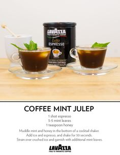 The Coffee Mint Julep: Honey, mint and espresso make this a refreshing twist on the classic Derby Day cocktail. Non Alcoholic Drinks, Beverages, Cocktails, Mood Stabilizer, Espresso Coffee Machine, Mobile Bar, Coffee Drinks, Bartender, Caffeine