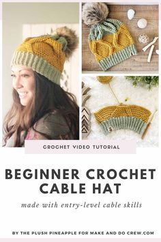 A grid of photos of a beginner crochet cable hat pattern being made and worn. Crochet Cable, Crochet Mittens, Chunky Crochet, Crochet Beanie, Crochet For Beginners, Beginner Crochet, Crochet Crafts, Crochet Projects, Diy Crafts