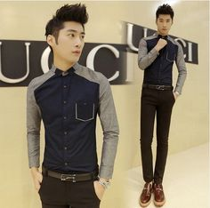 2014 Newest Pocket Embellished Patchwork Korean Slim Fit Luxury Stylish Casual Office Dress Shirt Drop Shipping $20.99