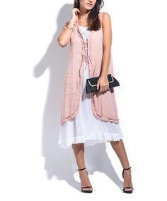 78c2acea53 LIN nature Light Pink Linen Layered Shift Dress - Plus Too