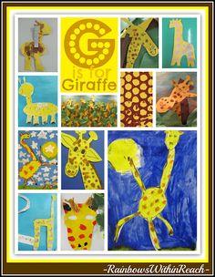 G is for Giraffe, Art Projects from Preschool to 1st grade focused on Giraffe Theme
