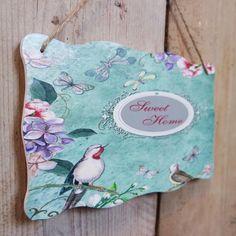 In Legno Vintage Shabby Chic Placca Blu Uccellini Farfalla Floreale Dolce Casa | eBay