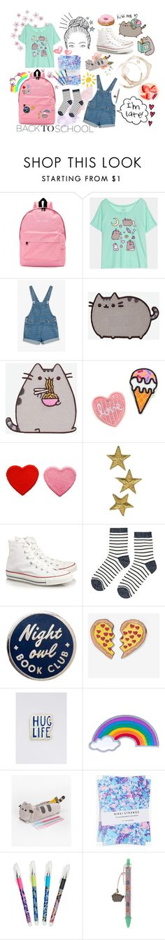 """""""Back to School with Pusheen"""" by ms-magenta ❤ liked on Polyvore featuring Pusheen, Monki, Converse, Accessorize, Laser Kitten, Wildfang, Ana Accessories, Nikki Strange, Vera Bradley and contestentry"""