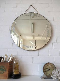 Vintage Large Round Bevelled Edge Art Deco Wall Mirror With Engraved Details