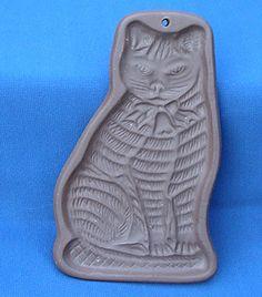 "1982 Hartstone 6 5"" Stripped Tabby Cat Cookie Shortbread Mold Stoneware Vtg | eBay"