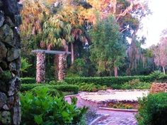Picture of side of reflection pond and green hedges.  Side view of the garden path leading through the formal gardens. Ravine State Gardens Palatka Florida