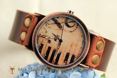 Women Leather Watch Piano Key and Musical Note by mytinyfoxalice, $17.99