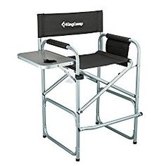 KingCamp Tall Director Chair Collapsible with Side Table Cup Holder Side Storage Bag Footrest, Folding Portable, Supports 300 lbs