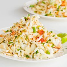 A filling and healthy refreshing cabbage and #chicken #salad recipe with an #Asian flare. #Glutenfree and #Dairyfree too.
