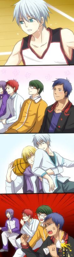 full reaction of jelous from other kisedai members to kise and kurokoXD lol