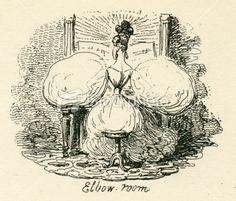 Humour puffed sleeves ladies fashion 19th century cartoon