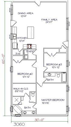 barndominium floor plan 3 bedroom 2 bathroom 30x60