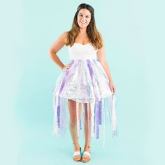 DIY a jellyfish costume for Halloween using fabric pieces, a hoop skirt + spray paint.