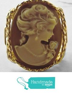 Fine Lady Large Coffee Cameo Ring 14k Gold gf Art Jewelry HGJ from Art Jewelry HGJ