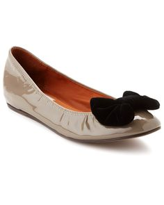 ef99e60a3610 LANVIN Leather Bow Ballet Flat Taupe   Bow Flats