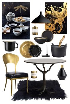 """""""Gold & Black Dining"""" by ladomna on Polyvore featuring interior, interiors, interior design, home, home decor, interior decorating, Ebb & Flow, iittala, Kenneth Jay Lane and Pablo"""