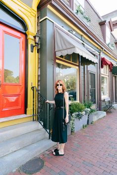 Cathy from The Middle Page in her J.Jill shirred-waist maxi dress.