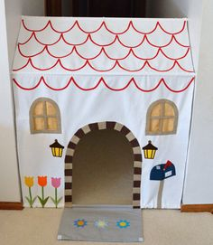 Playhouse in the hallway with tension rods