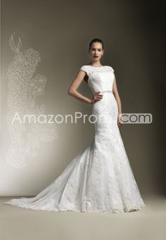 Elegant Trumpet/Mermaid Off-the-Shoulder Sleeveless Floor-Length Chapel Lace Wedding Dresses