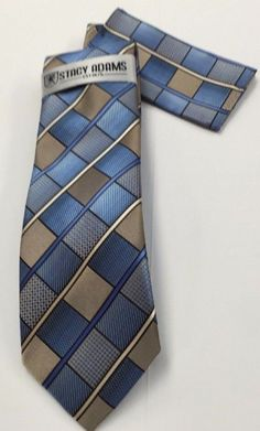 Stacy Adams Tie & Hanky Brown, Khaki & Blue Men's Hand Made 100% Microfiber #StacyAdams #Tie