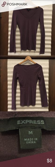 Express Plum V-Neck Jersey Plum slim fit jersey; some pilling and signs of wear; otherwise in good condition. Express Tops Tees - Long Sleeve