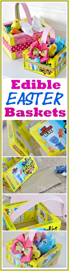 Edible Easter Baskets (Easy Easter Craft) brought to you by @Collin Morgan @Hip2Save Great activity to do with kids!